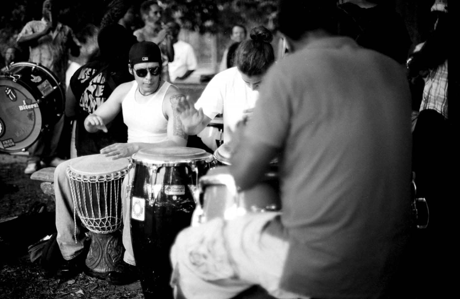 The drum circle has been going on for at least 50 years, and is believed to have formed from the drum circles that happened during the marches and protests of the civil rights movement.