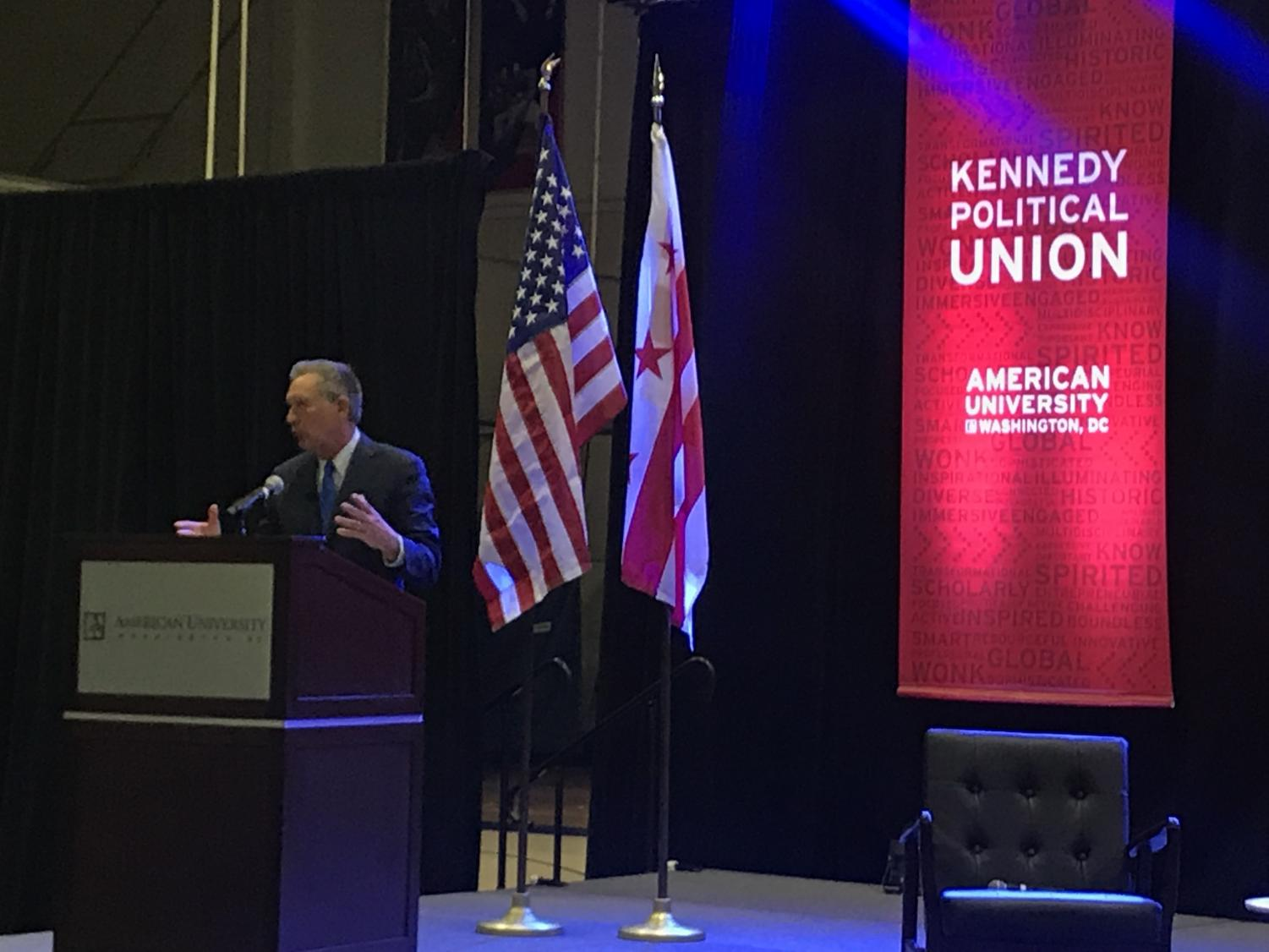The student-run Kennedy Political Union (KPU) and AU College Republicans cosponsored The Wonk of the Year event on March 21, awarded to John Kasich.