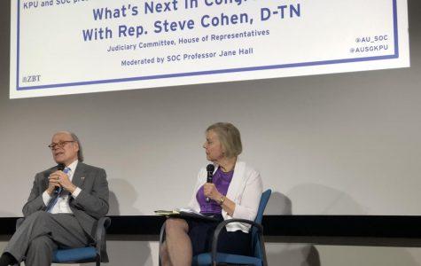 Professor Jane Hall (right) interviews Congressman Steven Cohen (left) last night.