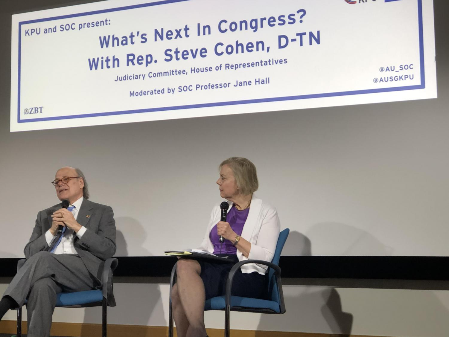 Professor Jane Hall (right) interviews Congressman Steven Cohen (left) last night.