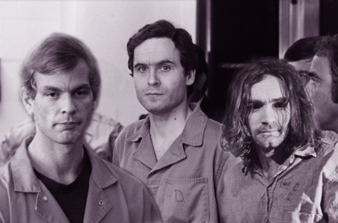 Jeffrey Dahmer, Ted Bundy, and Charles Manson (photo has been photoshopped by artist).