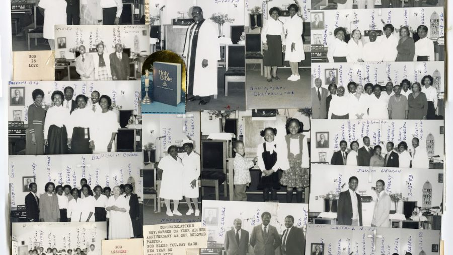 (1983 collage of members of the Macedonia Baptist Church in Montgomery County, courtesy of the church)
