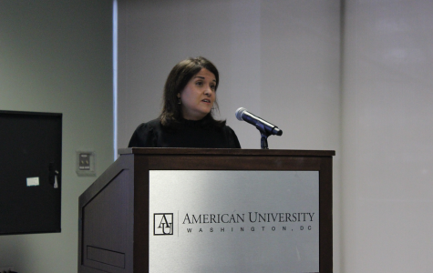 Dr. Ana Lucio Araujo presents  on the history of reparations before taking questions from the audience.