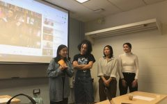 "Clarissa Cheung ( far left) and other members of AASU advocacy committee introduce the ""Self Care as Rebellion"" event. This event took place Feb.4 on American University's campus."