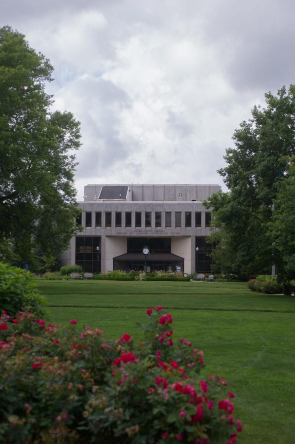 A photo of the Bender Library at American University